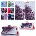 Caque para iphone6 6 s plus pintura colorida capa de couro flip case para a apple iphone 6 s plus capa carteira com titular do cartão
