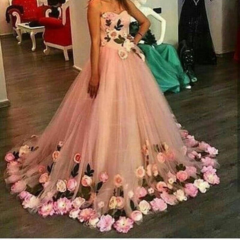 vestidos de fiesta Beautiful Handmade Flowers Ball Gown Prom Dress ...