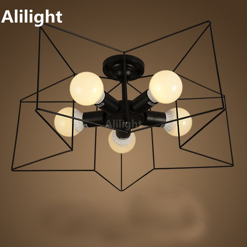 Schwarz Schmiedeeisen Sterne Form Kreative Deckenleuchten Eisen Cage Schlafzimmer Wohnzimmer Restaurant Innenbeleuchtung Art Deco Leuchte