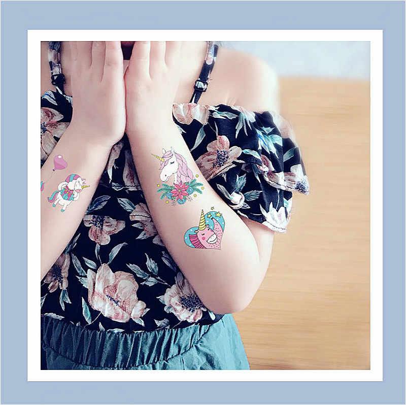 1 sztuk Emoji ramię uda jednorożec Cartoon naklejka figurka akcji i figurki do zabawy zabawki prezentowe chłopiec dziewczyna dzieci znak wodny tatuaż