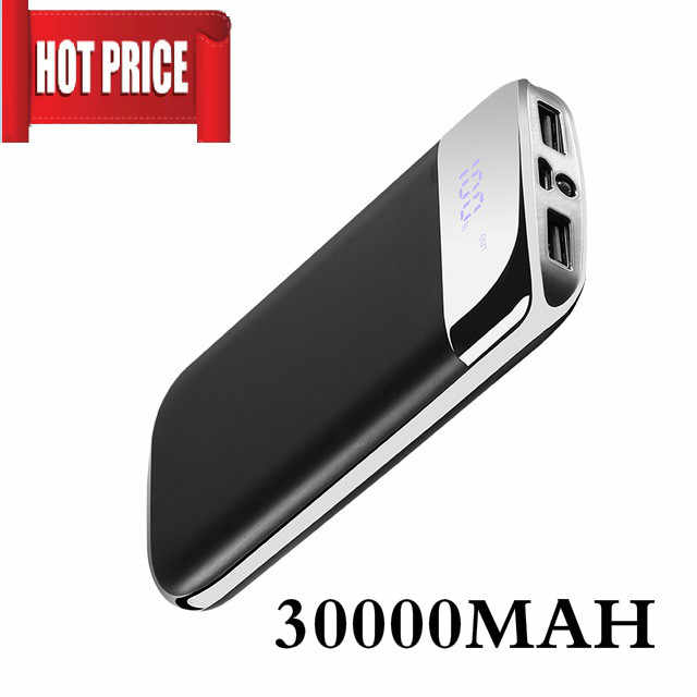 30000mah Power Bank External Battery PoverBank USB LED Powerbank Portable Mobile phone Charger for Xiaomi MI iphone Samsung