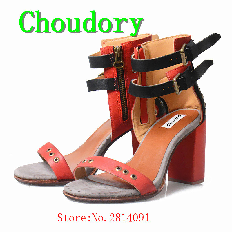 Choudory Casual Buckle Strap Solid Fashion Super High Heels Gladiator Sandals Women Buckle Genuine Leather Square Heels Shoes