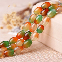 Natural Peacock Agate Rice Beads Semi Finished Product 8mm 12mm Oval Loose Beads For DIY Jewelry