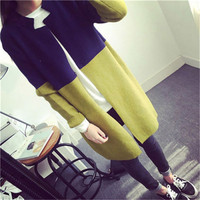 Women 2018 New Arrival Plus Size Fashion Long Cardigan Winter Patchwork Thick Hot Sale Wool Sweater