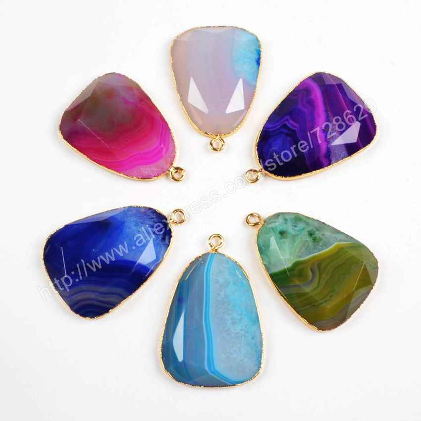 ... BOROSA 5Pcs lot Beautiful Gold Color Onyx Druzy Geode Crystal Druzy  Drop Rainbow Pendant Connector ... c6cde435d0ef