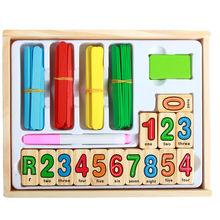 Kayu mewah mainan anak usia dini multi-fungsi menghitung, dengan papan tulis, komputasi digital, belajar blok alfabet bahasa Inggris