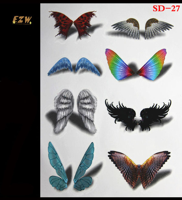 3D Tattoo Flash Temporary Tattoos Color Flash Tattoo Luminous Butterfly Body Art Tattoo Sticker For Women On The Body