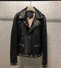 High quality genuine leather rivets jackets coat Womens moto & Biker Spring autumn sheepskin short D946