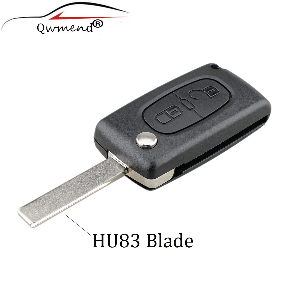 2 Buttons HU83 Blade Remote Key Shell Blank For Peugeot 107 207 307 307S 308 407 607 Original Key CE0536 Model