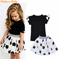 Malayu Baby 2017 Europe and the United States the new summer girl cotton suit bow T shirt + flower skirt two sets of 1-5 years