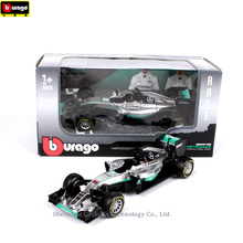 Bburago 1:43 Mercedes Racing AMG NO44 Simulation alloy super toy car model For  with Steering wheel control front steering