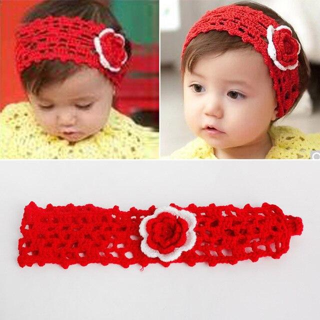 Mode Baby blume häkeln stirnband haar band haar zubehör Headwear ...