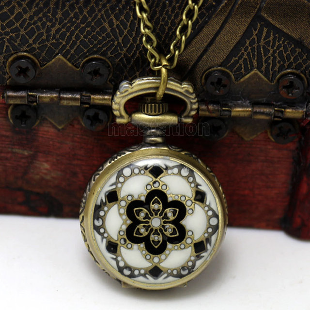 2017 New 1PC Necklace Chain Flower Enamel Pocket Watch W/Battery Bronze Tone 82.