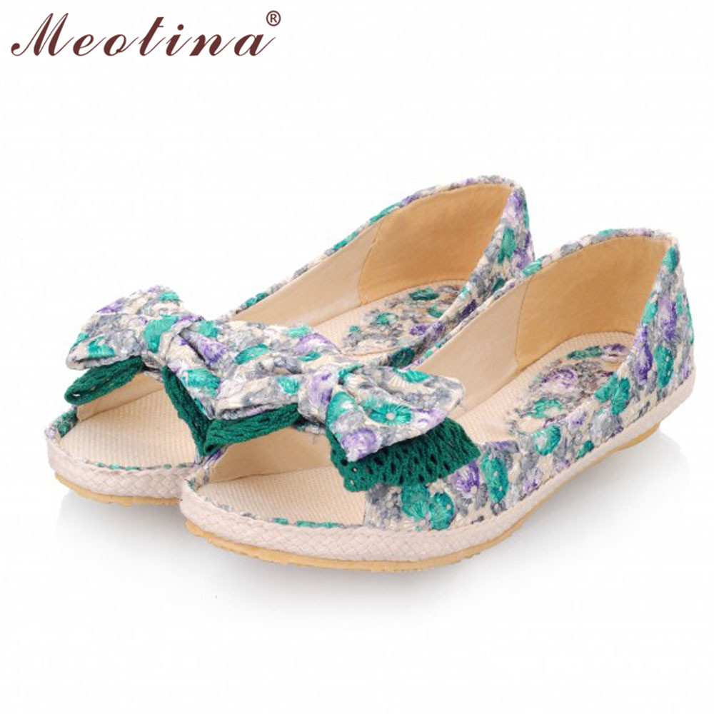 Meotina Shoes Women Flats Lace Open Toe Flat Heel Shoes Bow knot Embroider Flower Spring Summer Women shoes Large Size 42 43 meotina brand design mules shoes 2017 women flats spring summer pointed toe kid suede flat shoes ladies slides black size 34 39