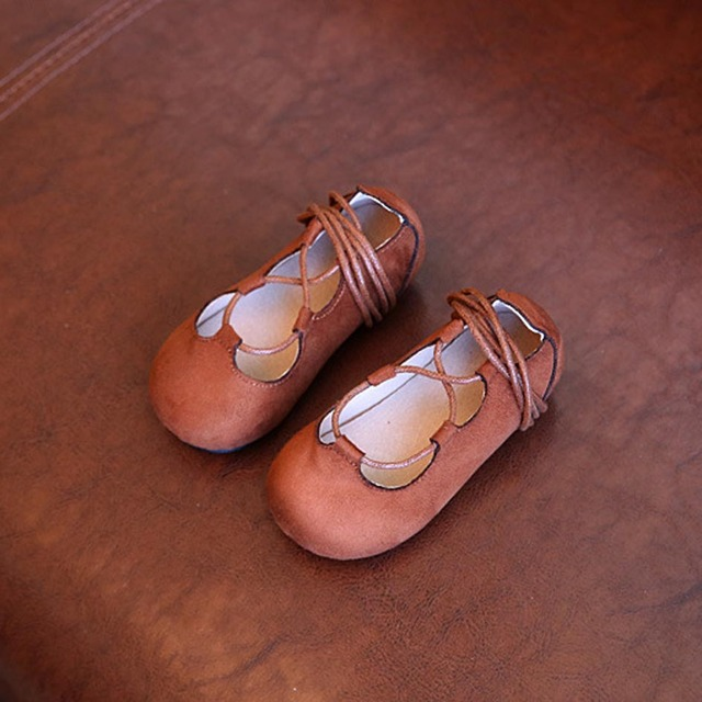 Design da marca lace up girls ballet shoes 2017 primavera crianças princesa shoes camurça meninas crianças flats shoes zapatos ninas