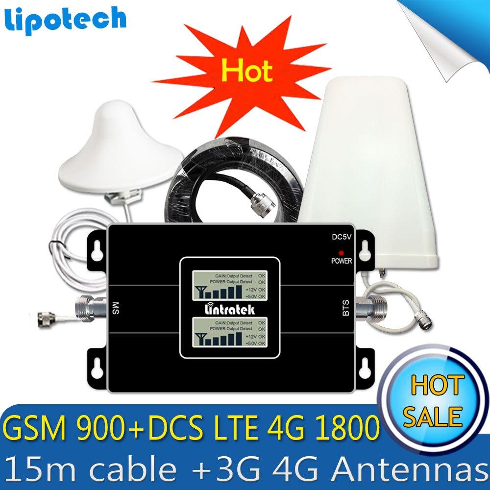 Lintratek LTE 1800 900 2G 4G GSM DCS Mobile GSM Cellulaire répéteur de signal booster 4G Repetidor Celular 3G 4G Antennes