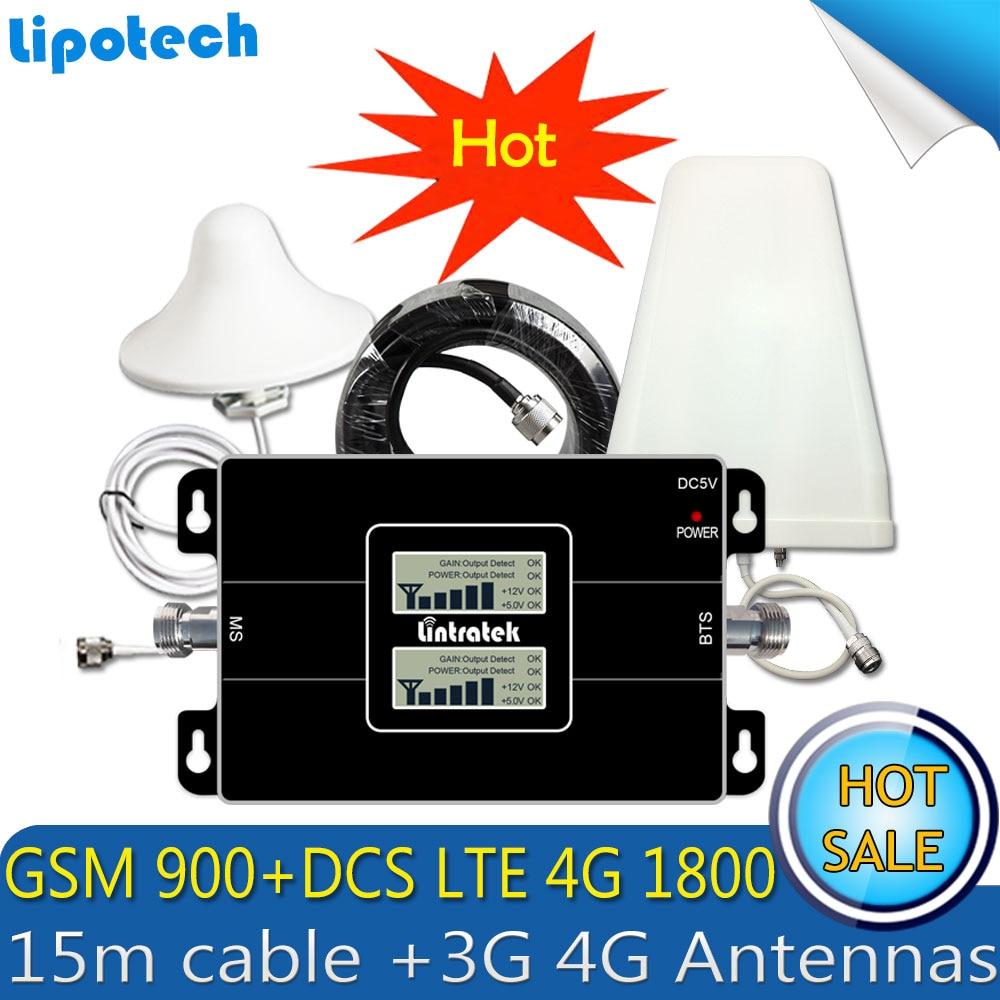 Lintratek LTE 1800 900 2G 4G GSM DCS móvil GSM señal Celular Repetidor de 4G Repetidor Celular 3G 4G antenas