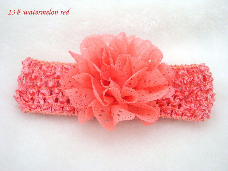 Promotion 10pcs/lot lace Chiffon hollow out Flower Crochet Headband Girls dress up Headband Chirstmas gift 13color in stock
