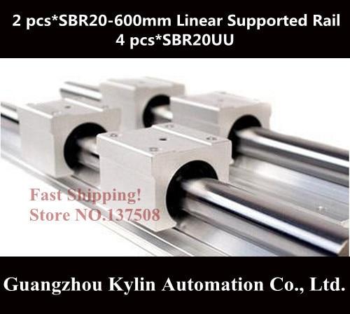 Best Price! 2 pcs SBR20 600mm linear bearing supported rails+4 pcs SBR20UU bearing blocks,sbr20 length 600mm for CNC parts  все цены