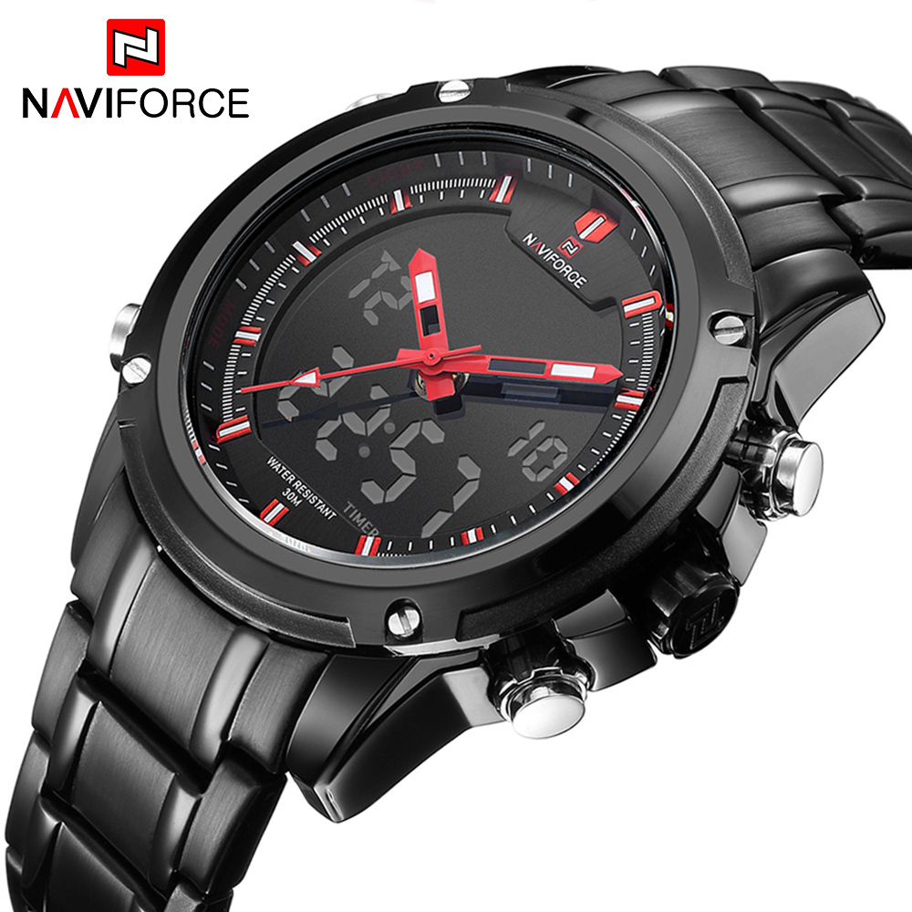 NAVIFORCE Top Luxury Brand Men's Quartz Watches Full Steel LED Analog Digital Military Sport Watch Relogios Masculinos Clock Men