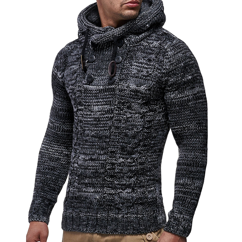 LASPERAL Winter Knitted Sweater Men Autumn Fashion Solid Mens Sweaters 2019 Casual Turtleneck Outerwear Hooded Pullover Sweater