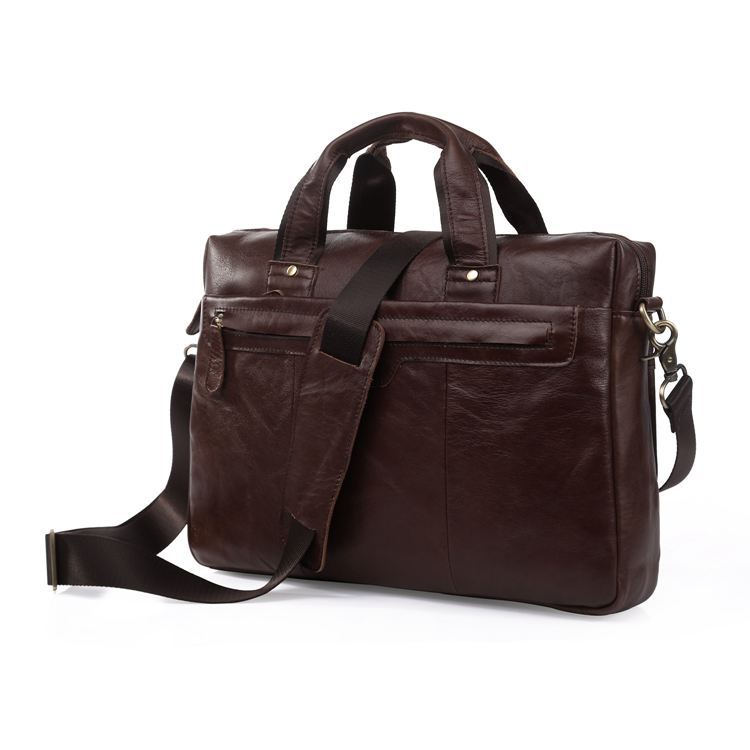 Nesitu Vintage Chocolate Genuine Leather Briefcase Portfolio Men Messenger Bags Real Skin Male Bag #M7075