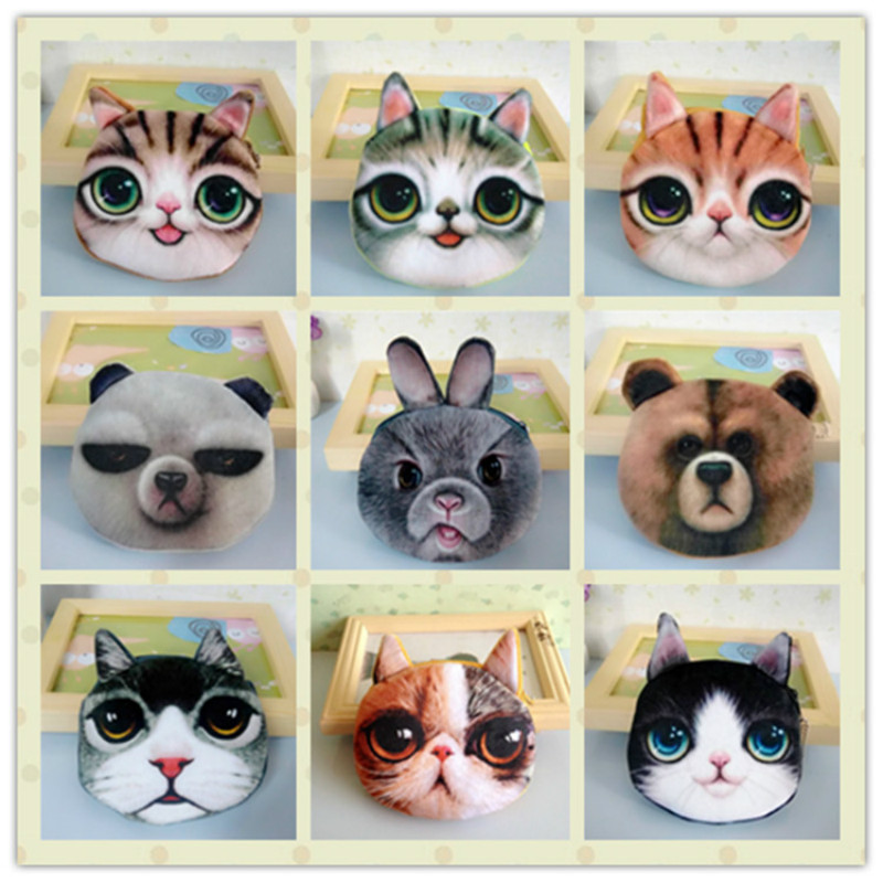students purse girl wallet ladies Novelty animal cute cat face zipper child key case Kids coin purses fashion women Buggy Bag 2017new coin purses wallet ladies 3d printing cats dogs animal big face fashion cute small zipper bag for women mini coin purse