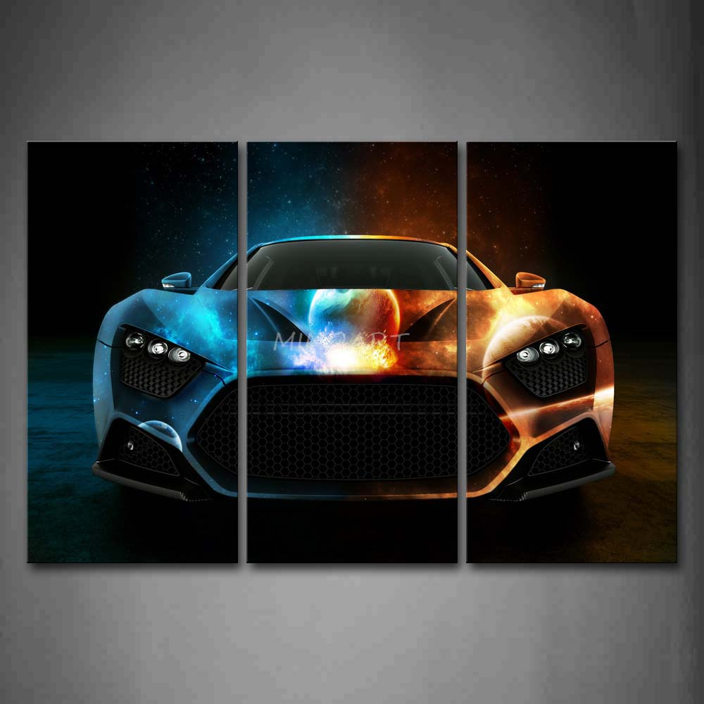 3 Piece Wall Art Painting Cool Space Car In Bright Color ...