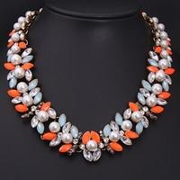 New Fashion 2014 Brand Luxury Elegant Jewelry Flower Pearl Choker Necklaces Pendants For Women