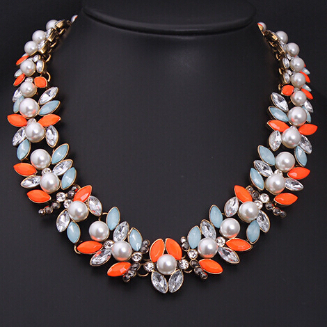 2017 Collares Collier Maxi Necklace New Fashion Brand Luxury Elegant Jewelry Flower Pearl Choker Necklaces & Pendants For Women