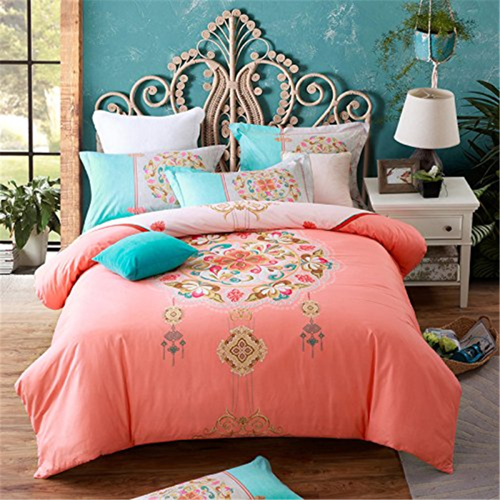 FADFAY Luxury Boho Bohemian Style Duvet Cover Bedding Sets 4 Piece Queen Size Boho Style Bedding Set