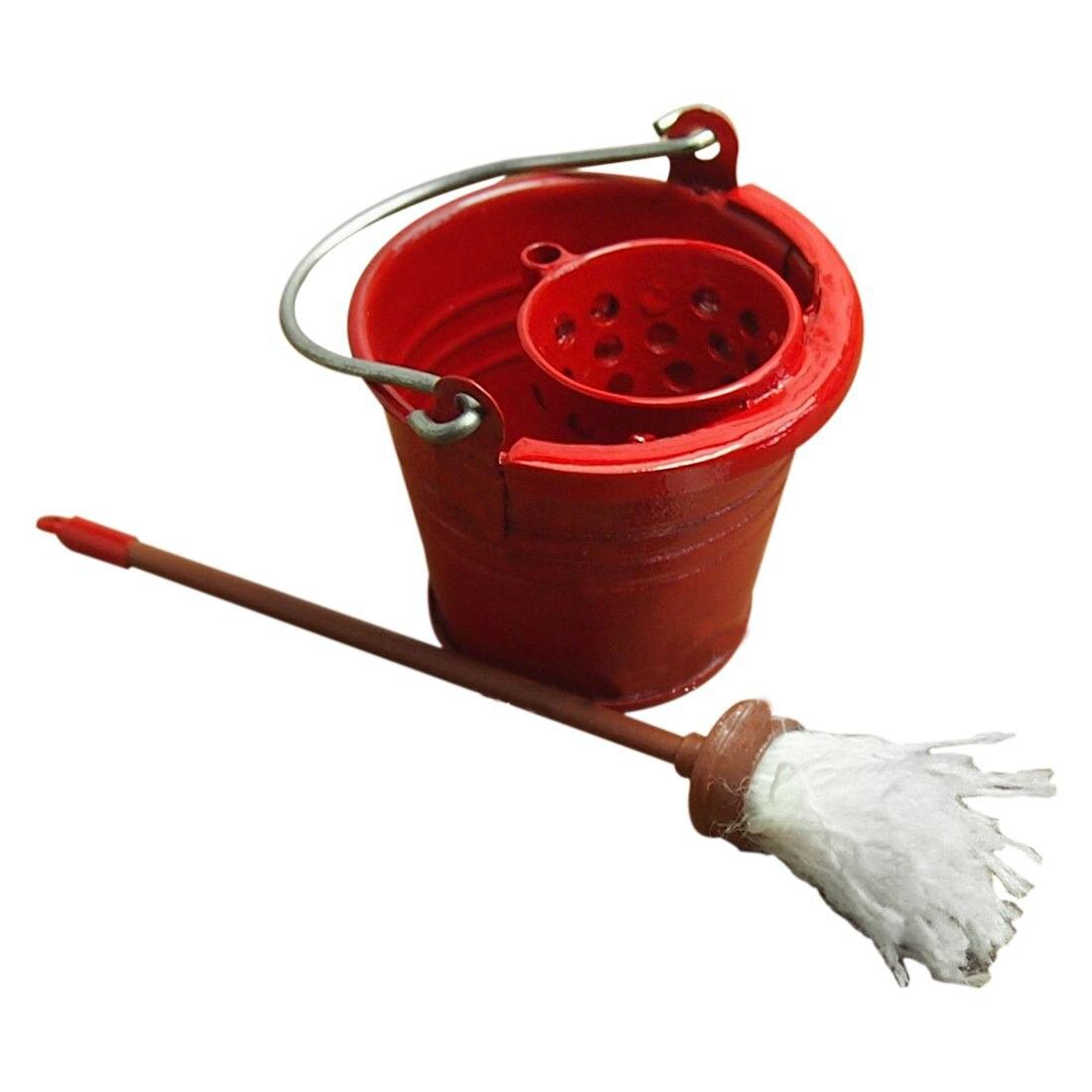 Кукольная Миниатюра Кухня сад красный металлическое ведро с СС