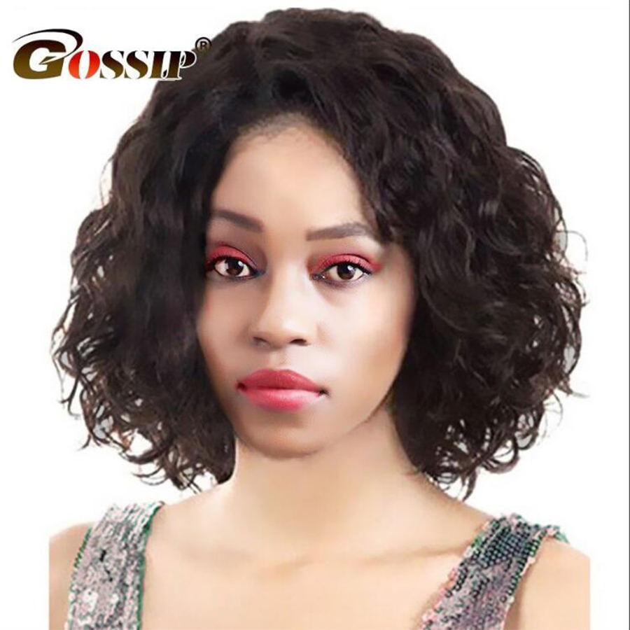 Gossip Bob Lace Front Human Hair Wigs Brazilian Curly Short Bob Wigs For Black Women 150 Density 6 inch Swiss Lace Wig Non Remy
