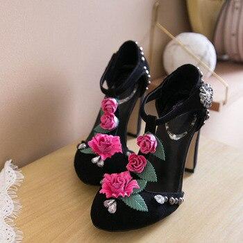Kinder Mary Jane | Rosa Schwarz Kidsuede Frauen Pumpen Nieten Verzierte Chunky High Heels Mary Janes Blume Kristall Hochzeit Schuhe Für Damen Stiletto