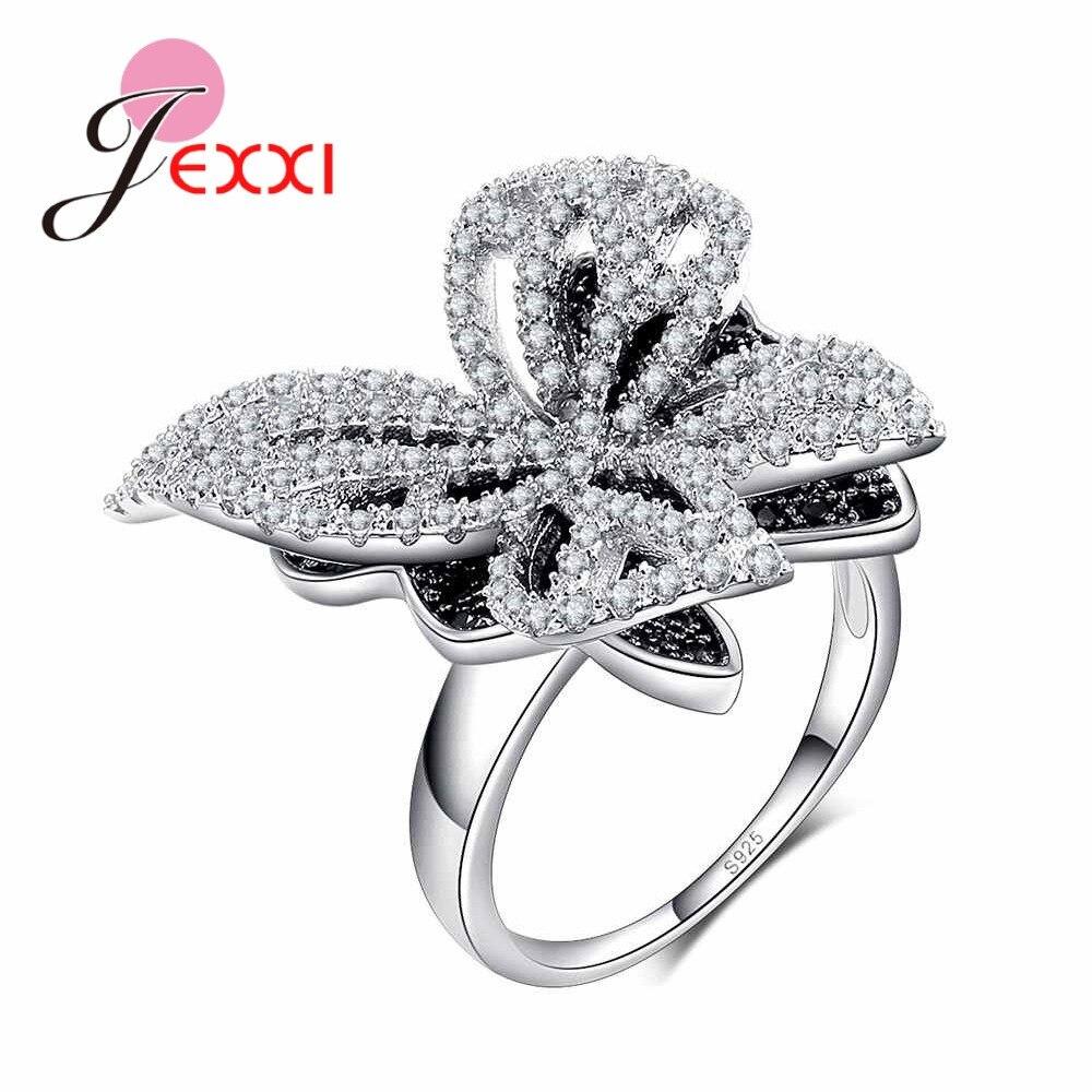 19fb369df6ee Cheap JEXXI 925 anillo de plata de ley para mujer aniversario de boda  compromiso delicada mariposa