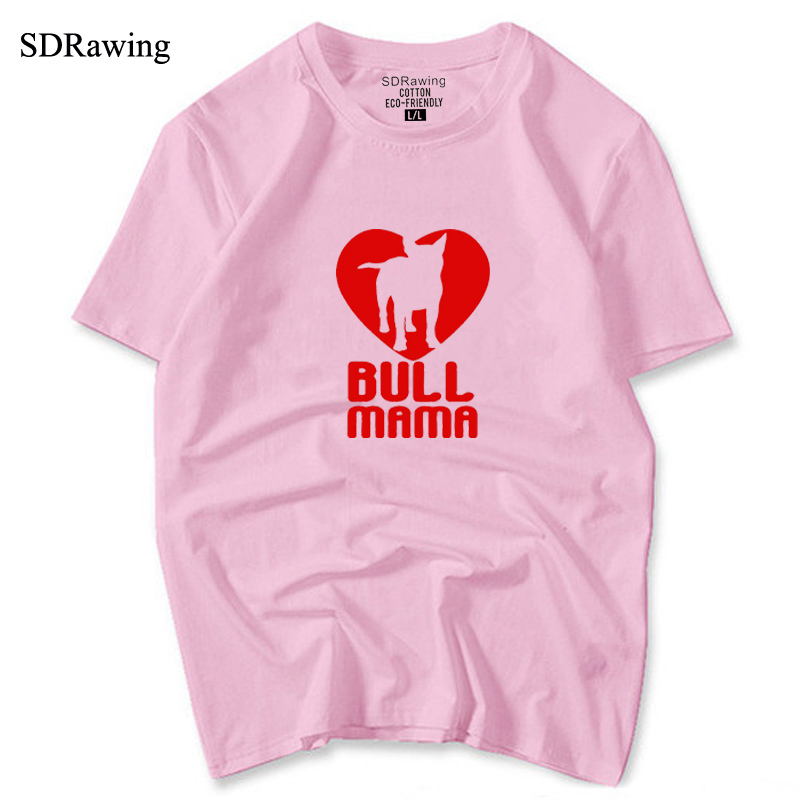 Womens Bull Terrier T-shirt Bull Mama hand print shirt Bullterrier lover gift idea Psiakrew womens T-shirt cotton tops tees
