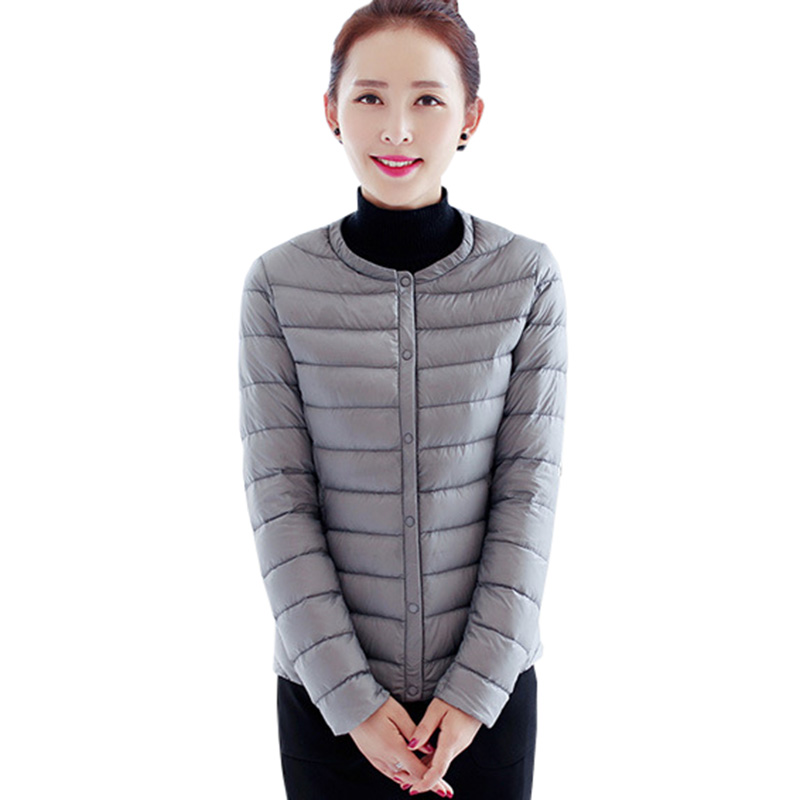 Autumn Winter Light Thin   Down     Coat   Women Short Slim Jacket White Duck   Down   O-neck Outwear Jackets Female Parkas   Coats   FP0150