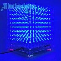 1 مجموعة 8x8x8 3d led lightsquared diy كيت الأبيض أدى بلو راي 3 ملليمتر أدى مكعب جناح 5 فولت إمدادات الطاقة الإلكترونية