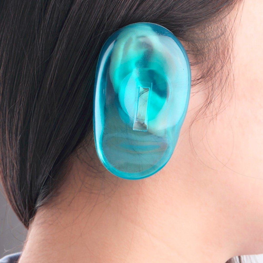 HOT 1 Pair 2 pcs Clear Silicone Ear Cover Hair Dye Shield man women hair beauty Protect Salon Color Blue New Styling Accessories