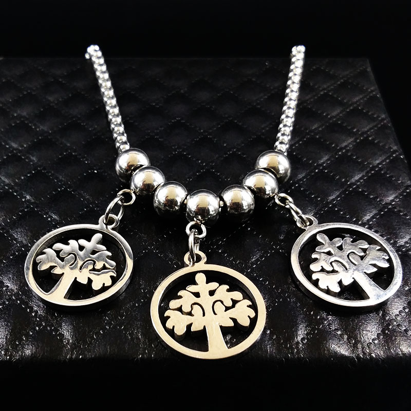 Tree of Life Stainless Steel Long Necklaces Women Round Necklace & Pendants Women Jewelry collares largos de moda 2017 N74189