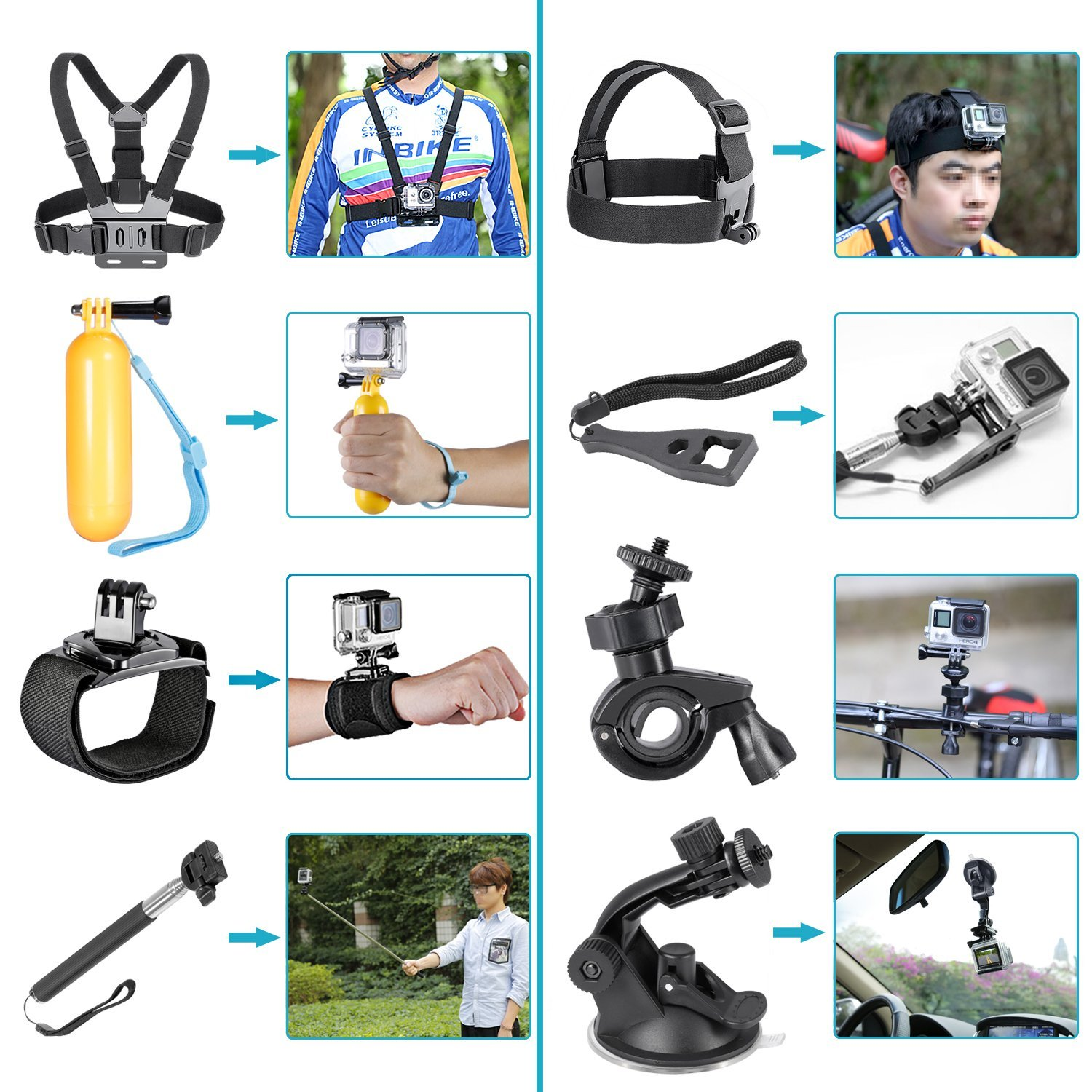 ETC-16-In-1 Sport Accessory Kit for GoPro Hero4 Session Hero Series for Xiaomi Yi in Skiing Climbing Bike Camping Diving and etc