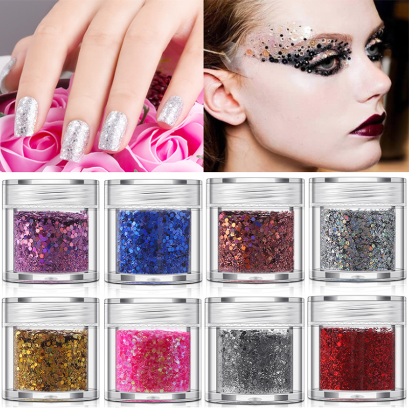 Nail Glitter Sequins Shinning Paillettes Nail Art Decor Flakes 3D Nail Art Decoration Laser Sparkly Diamond Manicure in Nail Glitter from Beauty Health