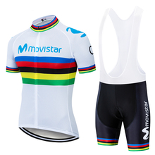 2019 movistar UCI Color strip Edition TOUR EUROPA  Custom top Bike Shorts Set Quick Dry Rope For Mens Pro Cycling Culotte Big M