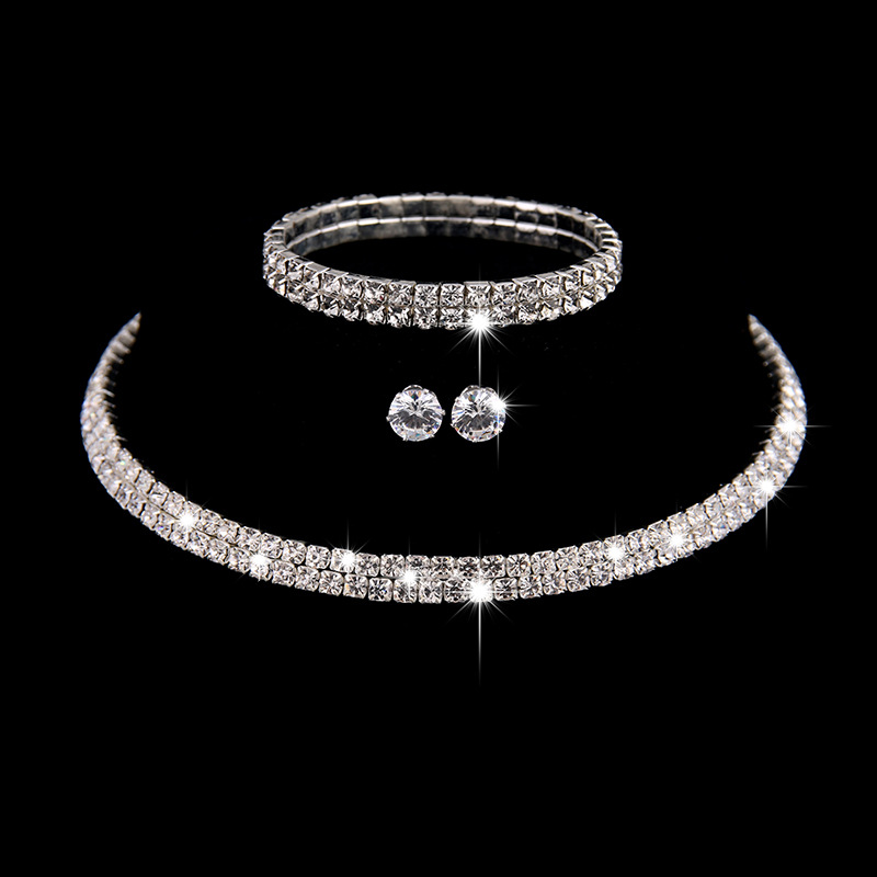 Wedding Jewelry Sets Bridal Crystal Rhinestone Bracelet Earrings and Necklace Set Korean Jewellery Sets for Women Fashion Girls