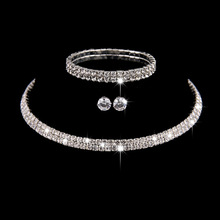 Wedding Jewelry Sets Bridal Crystal Rhinestone Bracelet Earrings and Necklace Set Korean Je