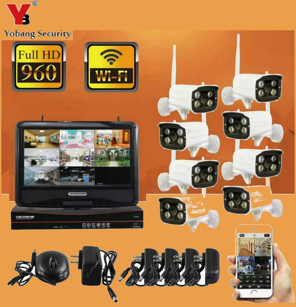 YobangSecurity 8ch Outdoor Waterproof Ip Camera 1.3MP 960P WiFi Wireless NVR kit with 10 inch Monitor Surveillance DVR SystemYobangSecurity 8ch Outdoor Waterproof Ip Camera 1.3MP 960P WiFi Wireless NVR kit with 10 inch Monitor Surveillance DVR System
