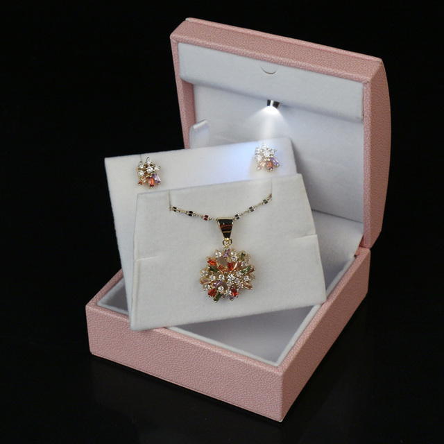 Us 26 4 Pink Color Necklace Jewelry Box Packaging Jewelry Set Box Model High End Custom Handmade Jewelry Box Led Showcase Free Shipping In Jewelry