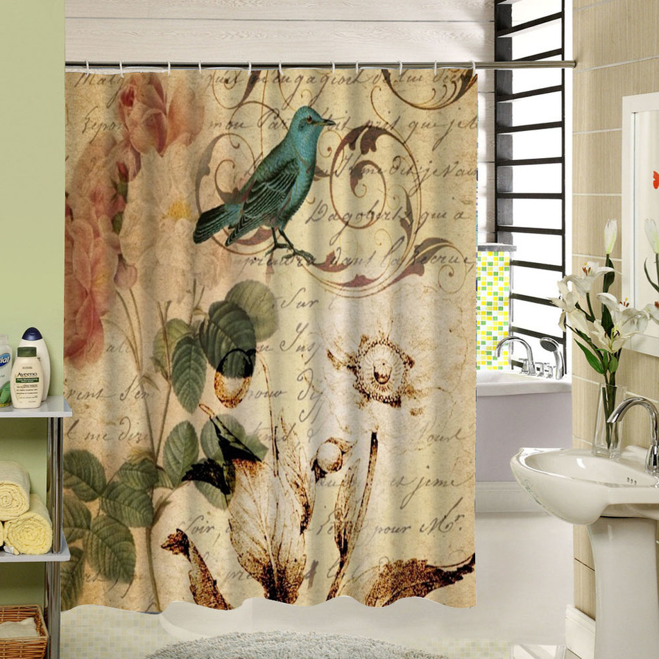 Bathroom window curtains waterproof - 2017 New Accessory Curtain For Small Window Waterproof Fabric Elegant Butterfly Floral Shower Curtain Washable Girl Bathroom
