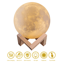 12CM Rechargeable LED Night Light Moon Lamp 3D Print Moonlight Luna Bedroom Home Decor 3 Color Change Touch Switch Creative Gift beiaidi creative 3d print moon lamps usb rechargeable led night light table moonlight with touch sensor switch christmas gift