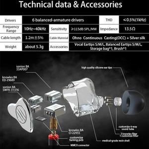 Image 5 - BGVP DM7 6 מאוזן אבזור ב אוזן אוזניות גבוהה באיכות HiFi צג עם נתיק MMCX כבל DMG DM6 DMS AS16 AS12 T2 DS3